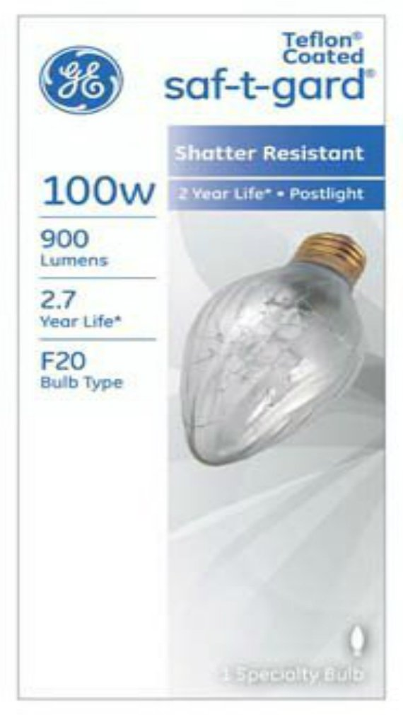 G E Lighting 44540 Saf-T-Gard Outdoor Post Light Bulb 100Watt, #100F20/TF/STG