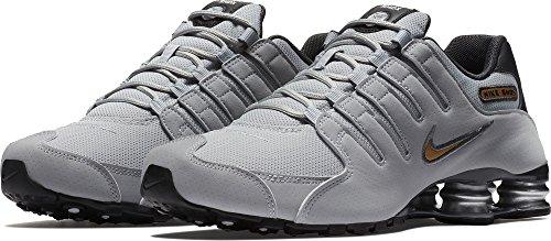 Nike Men's Shox NZ Running Shoes Wolf Grey/Metallic Gold/Anthracite 11.5 D(M) US - Nike Running Shox