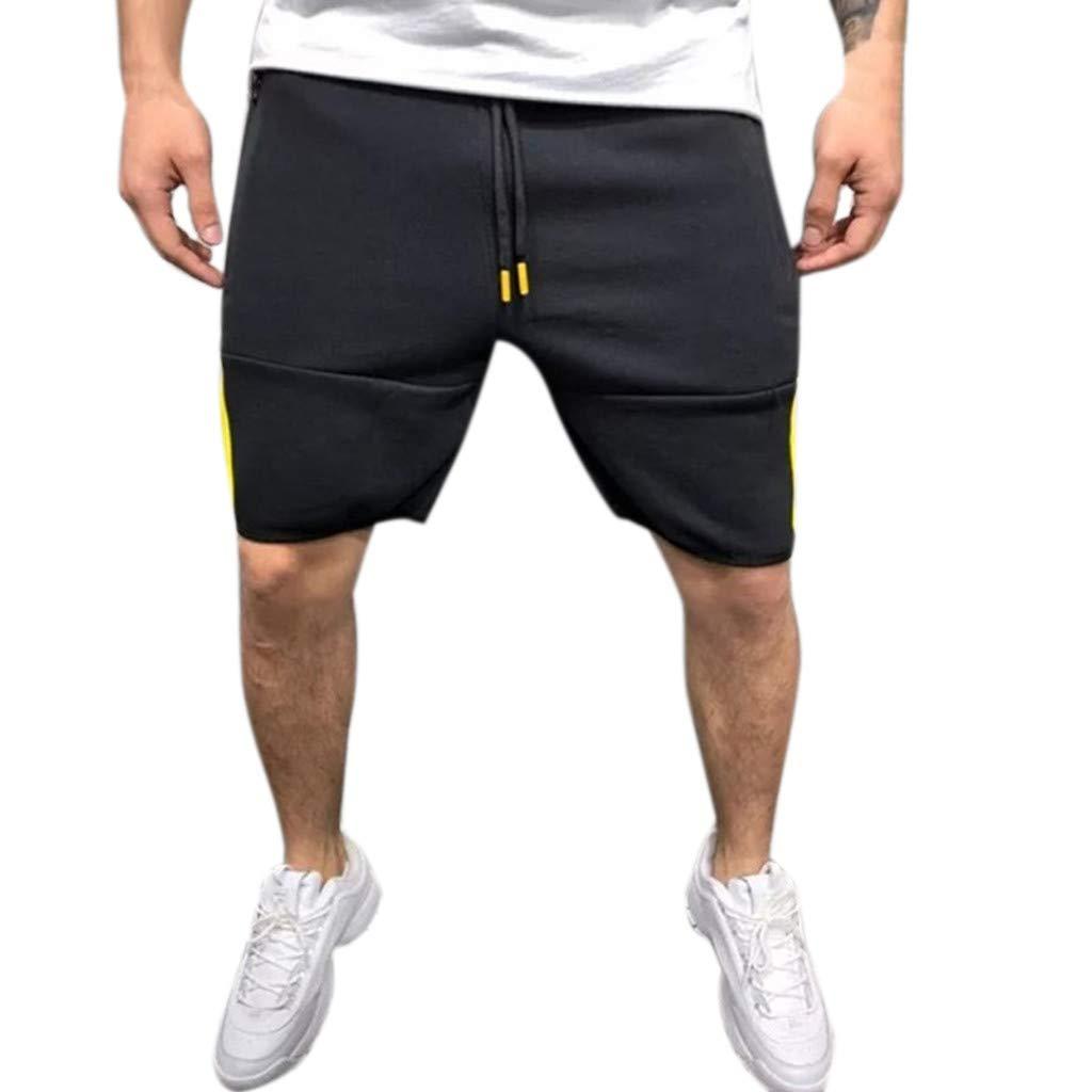 NUWFOR Men Zipper Casual Splice Stripe Beach Work Casual Men Short Trouser Shorts Pants(Yellow,US:M Waist28.35-32.30'''')