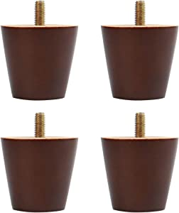 uxcell 2 Inch Round Solid Wood Furniture Legs Couch Table Desk Ottoman Cabinet Feet Replacement Adjuster Set of 4