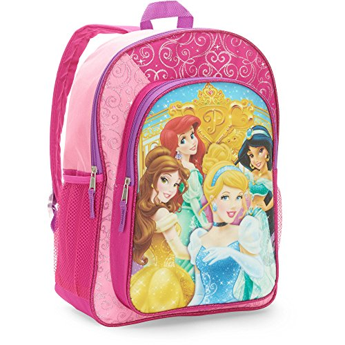 Disney Princess Backpack for Girls with Sparkles (16 Inch, Pink, School Supplies)