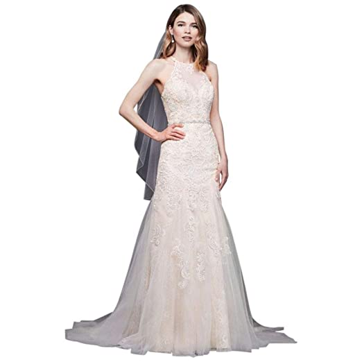 High Neck Beaded Lace Mermaid Wedding Dress Style Wg3941 At