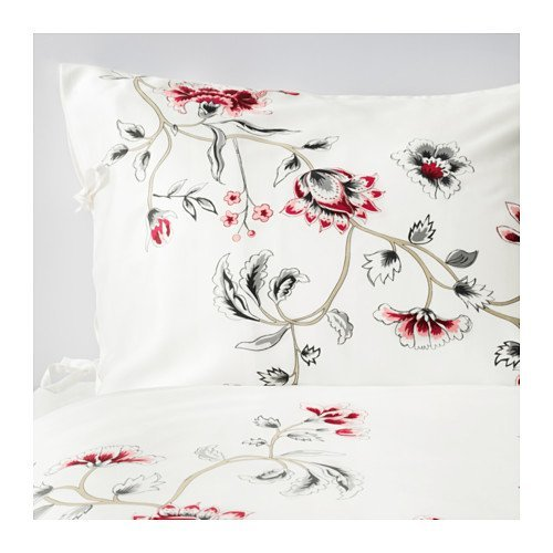 Ikea Robinka Queen Duvet Cover and Pillowcase, white, floral