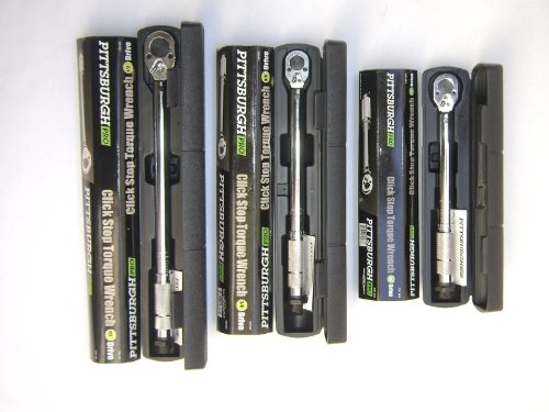20 Click Type - Set of 3 Pittsburgh Pro Reversible Click Type Torque Wrench Sizes 1/4