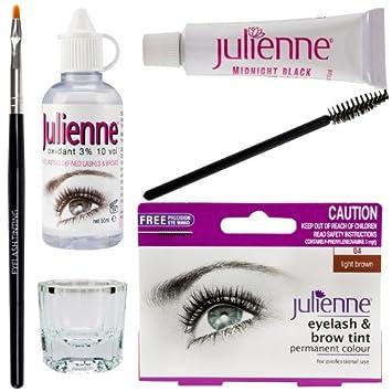 New Julienne Eyelash Eyebrow Tinting Kit Dye Light Brown Brush ...