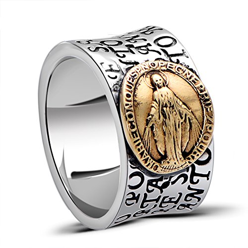 MetJakt Virgin Mary Solid 925 Sterling Ring with Scripture for Unisex Anniversary Religious Fine Jewelry (7) by MetJakt (Image #7)