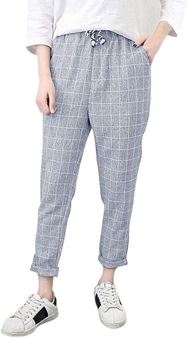 Sylar Pantalones Para Mujer Talla Grande Moda Impresión A Cuadros ...