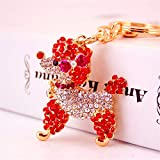 Kuwoolf Lovely Poodle Dog Bowknot Crystal Keychains Keyrings For Car Women Alloy Purse Bag Key Chain Ring Holder-Red