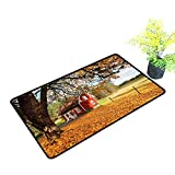 Zmstroy Bedroom Doormat Fall Quaint Traditional Red Swedish House Tranquil Environment Cottage Countryside Woods W35 xL47 Machine wash/Non-Slip Multicolor