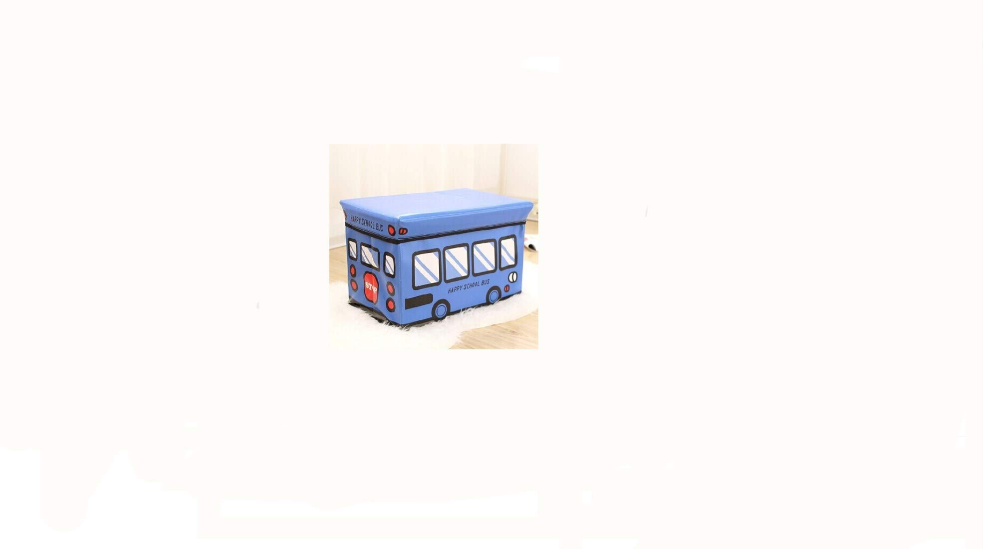 eSTAR School Bus Kids Folding Storage Ottomans Bin Toy Box Clothes Books Nursery Bedroom (Blue School Bus # 1) by eSTAR