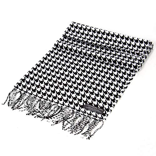 Cashmere Feel Scarf for Women Men, Super Soft Classic Winter Wrap Blanket, Houndtooth Black ()