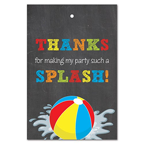 Beach Ball Pool Birthday Party Thank You Favor Tags (2