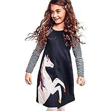 Napoo Toddler Baby Girl Horse Stripe Print Princess Long Sleeve Shirt Dress