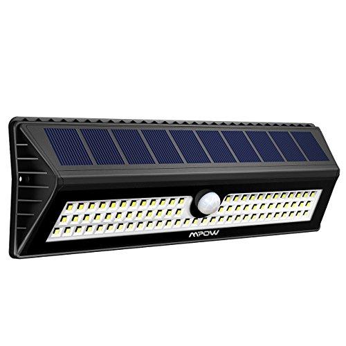 Mpow Solar Lights Outdoor, 77 LED Bright Motion Sensor Solar Light, 3 Optional Lighting Modes, 120 Degree Sensing Angle, Security Waterproof Lights for Pathway, Garden, Garage, Walkway - 1 Pack