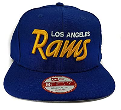 New Era Los Angeles Rams 9Fifty Royal Blue Vintage Script Adjustable Snapback Hat NFL by New Era