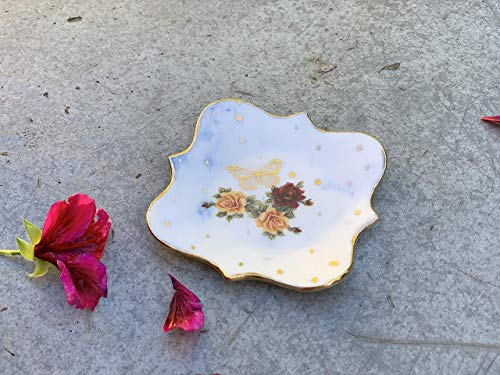 - White Blue and Gold Ring Dish with Roses and Butterfly, handmade pottery jewelry holder