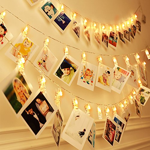 Photo Clip String Lights 30 LEDs Battery Powered Picture Card Hanging Lights Indoor Photograph Decor Party Home Artwork Wall Birthday Christmas Decorations Lights Warm White