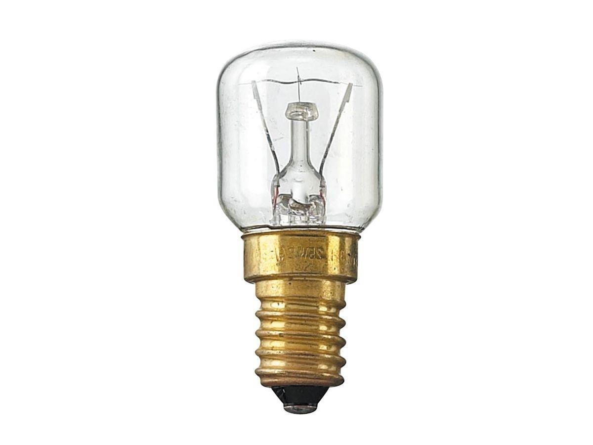 Lampadina ad incandescenza adatta per forno leuci attacco E-14 15 watt resistente alle alte temperature 230V
