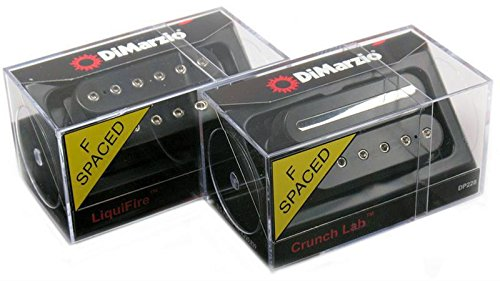 (DiMarzio LIQUIFIRE & CRUNCH LAB F-spaced Humbucker Guitar Pickup Set, BLACK DP227 &)