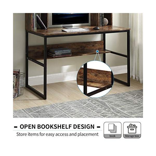 47.2''L- Home Office Computer Desk with Hutch Storage Shelves Computer Table Metal Frame Wooden Desktop New Modern…