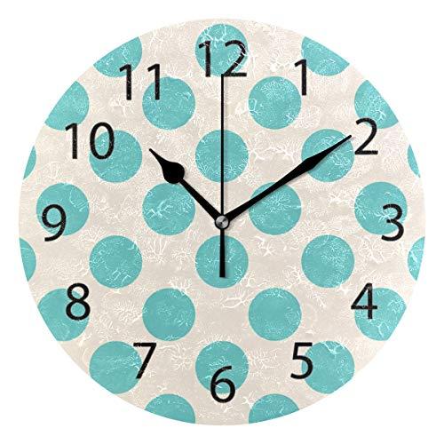 YATELI Wall Clock Shelf Round 10 Inch Diameter Polka Dot Candy Green Silent Decorative for Home Office -