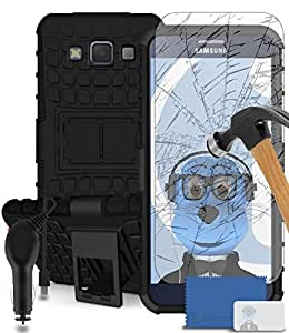 iTALKonline Samsung Galaxy A5 SM-A500F Black Black Tough Hard Shock Proof Rugged Heavy Duty Case Cover with Viewing Stand and Tempered Glass Protective LCD Screen Protector with MicroFibre Polishing Cleaning Cloth Application Card and 1000 mAh MicroUSB In Car Charger