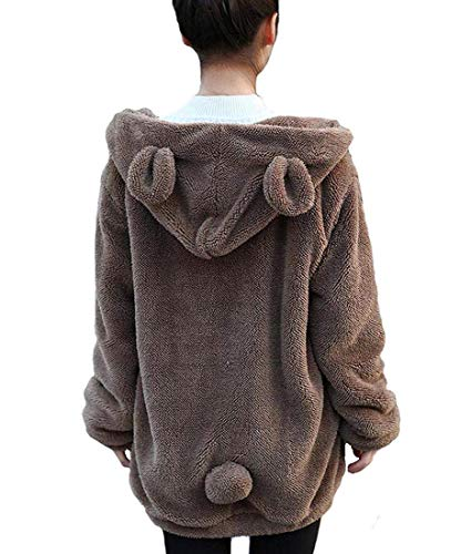 Women's Bear Ear Plush Hoodies Long Sleeve Zip Up Sweatshirt for sale  Delivered anywhere in USA