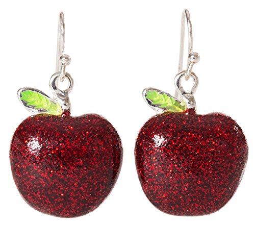 Artisan Owl - Red Apple Sparkling Enamel Polished Silver Tone Fruit Dangle (Enamel French Hook Earrings)
