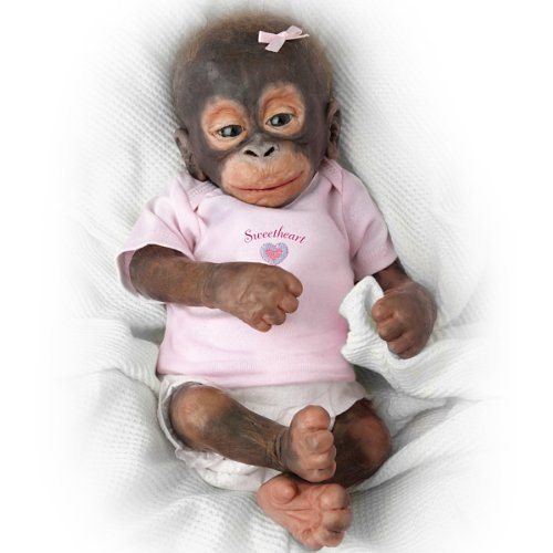 Little Umi Orangutan Silicone Baby Monkey Doll with Pacifier - Lifelike & Realistic 14-inches by The Ashton-Drake Galleries