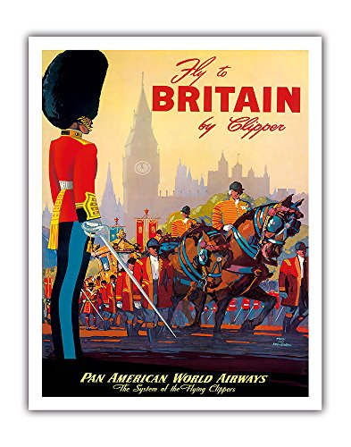 (Fly To Britain By Clipper - Pan American World Airways (PAA) - British Royal Procession PAN AM - Vintage Airline Travel Poster by Mark Von Arenburg c.1950s - Fine Art Print - 11in x 14in )