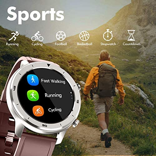 Smart Watch, Popglory Smartwatch HR, Touchscreen 1.3″ Fitness Watch with Blood Pressure Monitor, IP68 Waterproof Fitness Watch, 15 Days Battery Life Compatible with Android Phones and iPhone 518cGNJ2ZYL