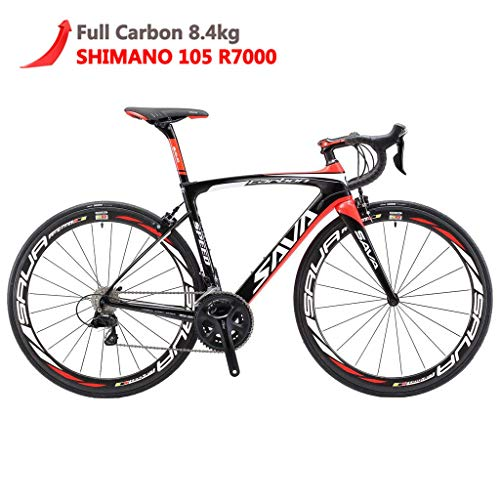 SAVADECK Herd 6.0 T800 Carbon Fiber 700C Road Bike Shimano 105 5800 Groupset 22 Speed Carbon Wheelset Seatpost Fork Ultra-Light 18.3 lbs Bicycle Black Red 52cm