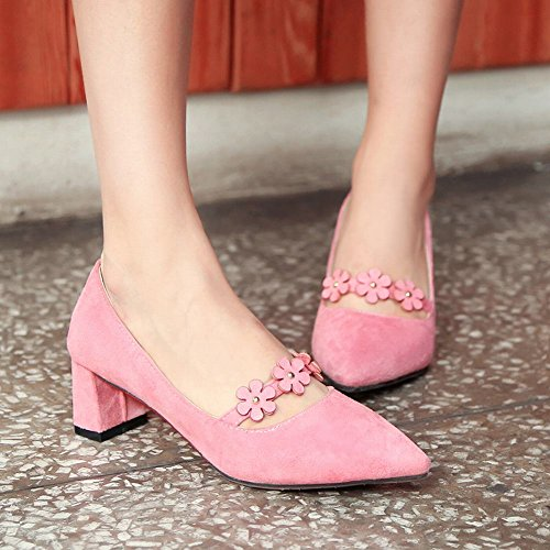 Mee Shoes Women's Sexy Mid Heel Block Heel Pointed Toe Flower Court Shoes Pink 2NVu5Uhy