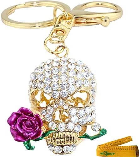 Cool 3D Skull with Dark Red or Purple Rose Flower Crystal Rhinestone Alley Metal Bling Bling Key Chain Ring Keychain Cell Phone Car Bag Purse Charm Décor Pendant Decoration Ornament