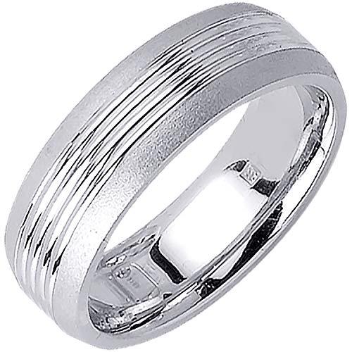 14K White Gold Pattern Men's Comfort Fit Wedding Band (7mm) Size-16c1