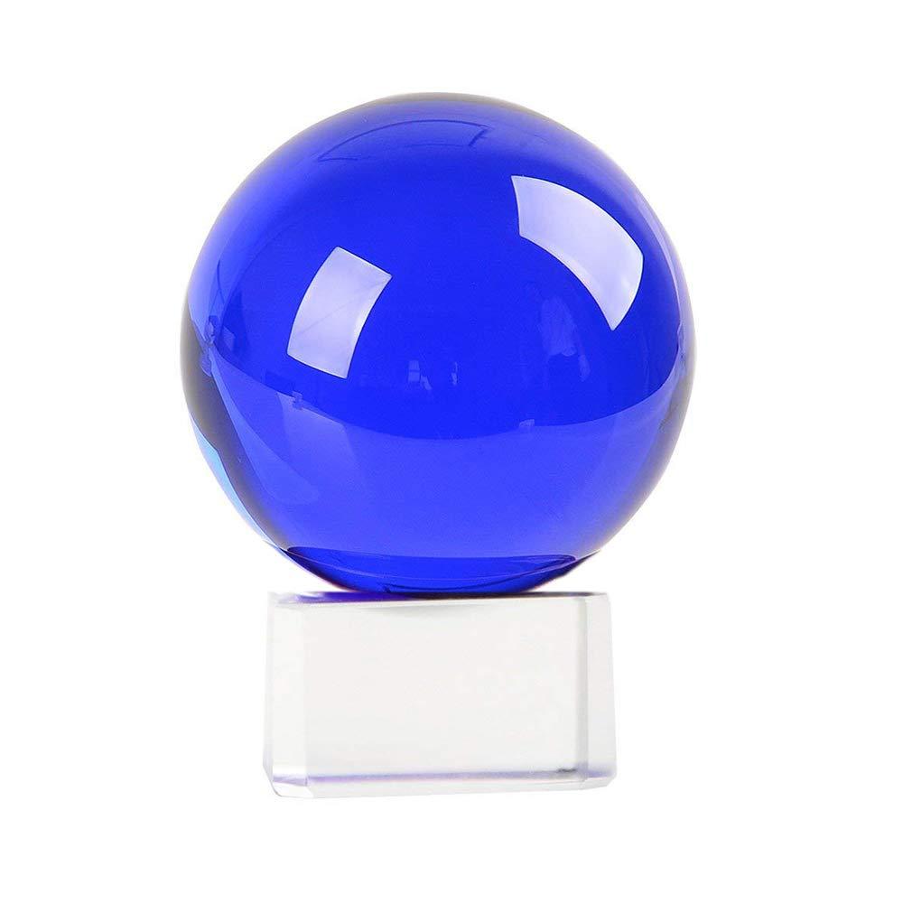 SIMUER Glaskugel Kristallkugel Fotografie, 70mm Fotokugel Wahrsagerkugel Glass Sphere Ball for Photography Decoration Birthday Gift Blau