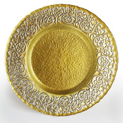 Charge it by Jay Round Baroque Gold and Silver Glass Charger Plate by Charge it by Jay
