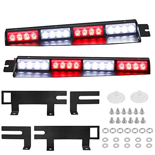 Red White Visor Lights, JUEN LIGHTS 32LED 15 Flash Patterns Emergency Visor Strobe Lights Windshield Interior Split Mount Visor Light Bar with Extended Bracket (Red/White)