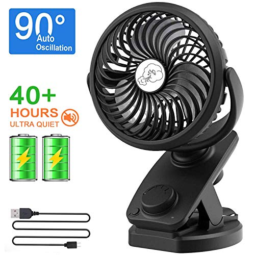 NANW Stroller Fan Clip on Battery Operated Fans, 2019 Newest 40 Hours Rechargeable Portable Clip Desk Fan, Personal Mini Table Auto Oscillating Fan for Baby Stroller Outdoor Indoor Car Travel Office