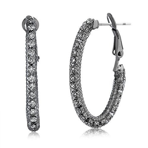 Brass Plated Rhodium Earrings - AUBREY LEE Crystal Round Hoop Earring in Black Rhodium Plated Brass