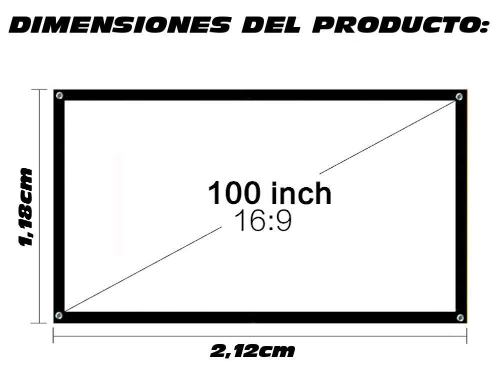 garant/ía de 2 a/ños Pantalla para proyector para Colgar con argolla 2,12cm x 1,28cm Tela de proyecci/ón Lux-Screen Formato 100 16:9 Superficie de 3 Capas Blanco Mate y Borde perimetal Negro
