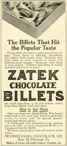 1911 Ad Pennsylvania Chocolates Zatek Billets Candies Box Cocoa Dessert Treats - Original Print Ad (Billet Interior)