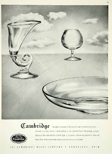 1946 Ad Cambridge Crystal Glass Dishes Household Kitchen Dining Room Home Decor - Original Print - Glasses Cambridge