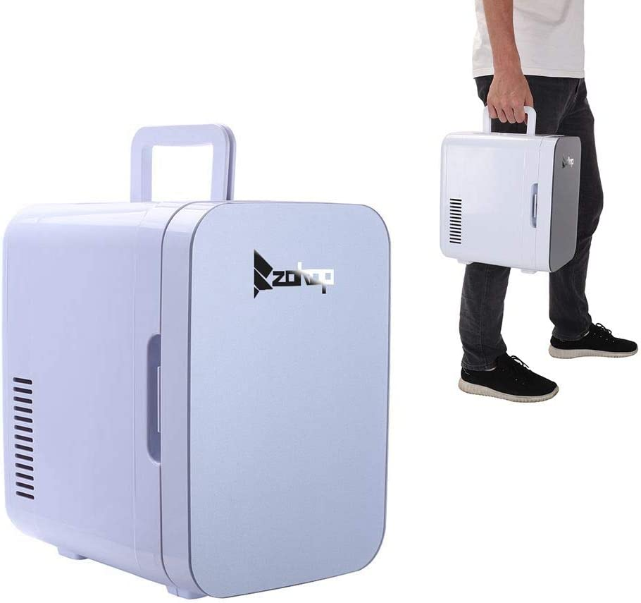 Mini Refrigerator,Mini Portable Compact Personal Fridge Cools & Heats 6Liter Capacity, 0.21 Cuft / 8 Can, 100% Freon-Free & Eco Friendly for Car, Outdoor, Office, Dorm, Apartment(Gray)