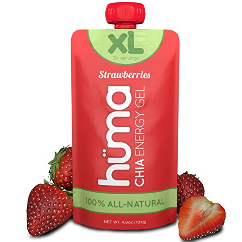 Huma Chia Energy Gel – XL (3 Servings) – Strawberries, 8 Pouches – Premier Sports Nutrition for Endurance Exercise
