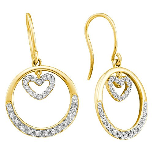 Heart Diamond Gold Circle Earrings (14K Yellow Gold Diamond Circle Floating Heart Dangle Wire Earrings 1/4 Ctw.)