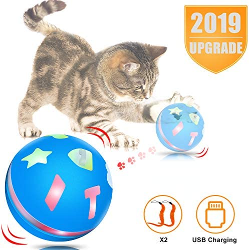 uniwood Interactive Cat Toy Ball, USB Rechargeable Motion Ball, 360 Degree Self Rotating Ball with Red LED Light, for Kitty's Indoor Play and Exercise 2