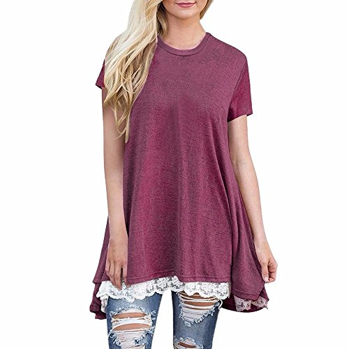 Huitian23 Womens Shirts Casual Tee Shirts O Neck Short Sleeve Button Up Loose Lace Tops Blouses Wine Red