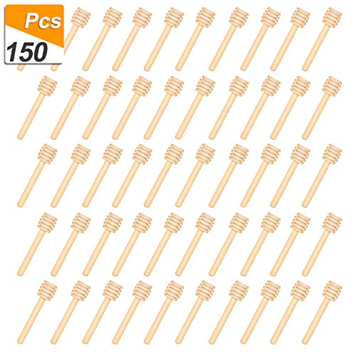 150 Pack 3 Inch Mini Wood Honey Dipper Sticks, Individually Wrapped, Server for Honey Jar Dispense Drizzle Honey ()