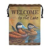 CMTRFJ Personalized Drawstring Bag-Welcome to The Lake Holiday/Party/Christmas Tote Bag